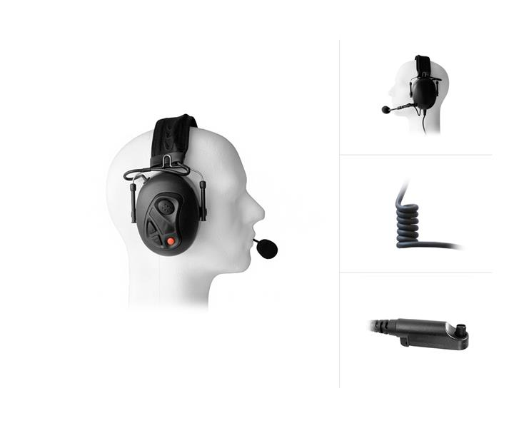 Dual Earmuff Headset for HYT / Hytera PD6-Series & X1-Series