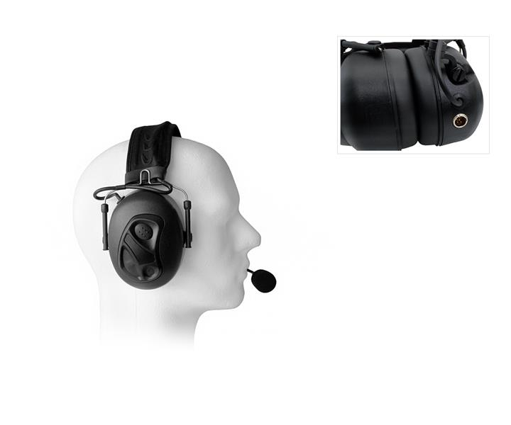 Dual Earmuff Headset to 5-pin Mini XLR Socket (Flex Version)